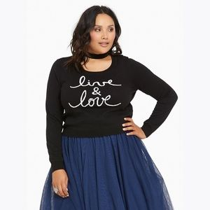 NEW Torrid Live & Love Raglan Cropped Sweater NWT